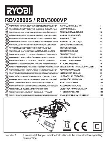 Buy a ryobi rbv3000vp spare part or replacement part for your.