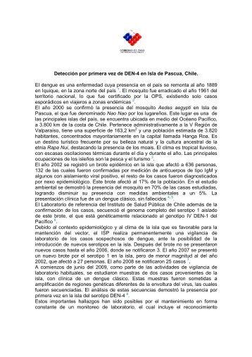 Detección por primera vez de DEN-4 en Isla de Pascua, Chile. El ...