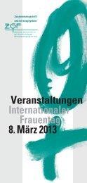 Veranstaltungen Internationaler Frauentag 8. März 2013
