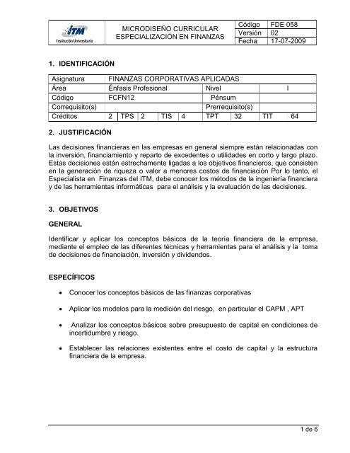 Microdiseã O Curricular Especializaciã N En Finanzas