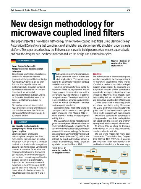 New Design Methodology For Microwave Coupled Lined Filters