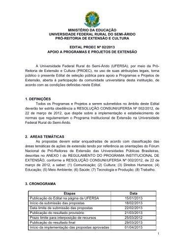 Edital Nº 02/2013 Apoio a Programas e Projetos de Extensão - Ufersa
