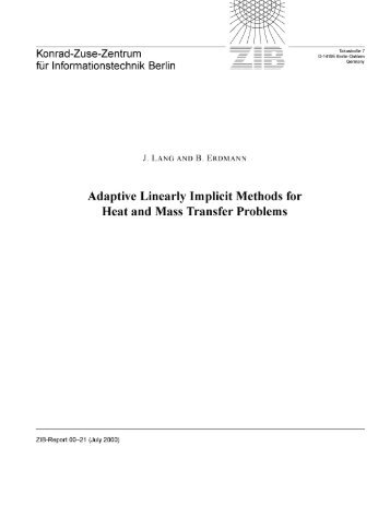 Adaptive Linearly Implicit Methods for Heat and Mass Transfer ...
