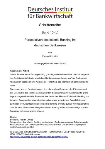 Perspektiven des Islamic Banking im deutschen Bankwesen
