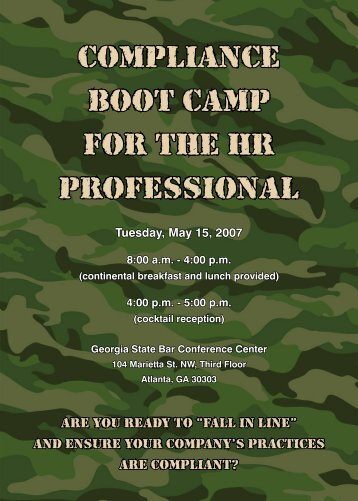 Compliance Boot Camp for the HR Professional