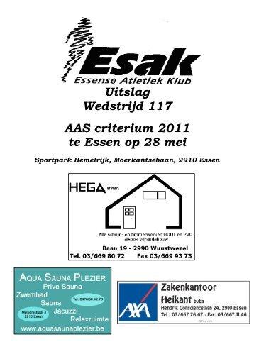 Uitslag Wedstrijd 117 AAS criterium 2011 te Essen op 28 mei - KAPE