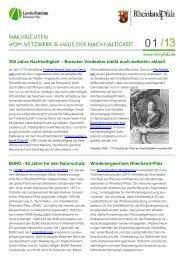 Newsletter 01/13 - Haus der Nachhaltigkeit
