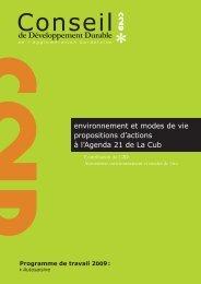 Rapport Environnement et modes de vie 2010.indd - La CUB