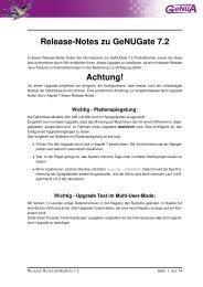 Release-Notes zu GeNUGate 7.2 Achtung! - GeNUA