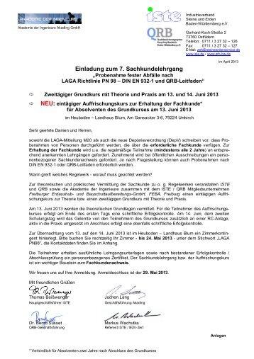 Einladung zum 7. Sachkundelehrgang - ISTE