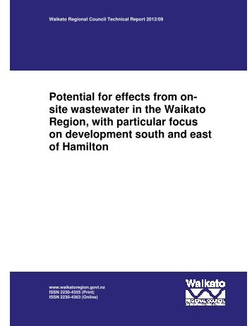 Potential for effects from on- site wastewater in the Waikato Region ...