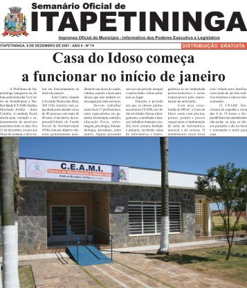 Casa do Idoso começa a funcionar no início de janeiro - Prefeitura ...