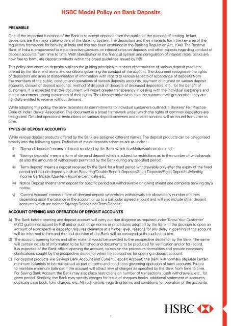 Policy on Bank Deposit - HSBC