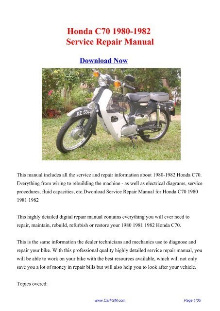 Download Honda C70 1980-1982 Factory Repair Manual