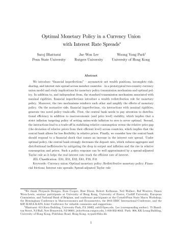 Optimal Monetary Policy in a Currency Union with Interest Rate ...