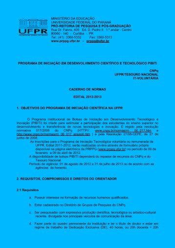 Caderno de Normas de Iniciação Tecnológica 2012-2013 - PRPPG ...