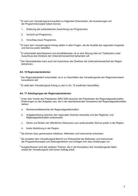 Organisationsreglement SRG SSR