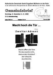 GOTTESDIENSTORDNUNG Sonntag, 6 ... - Sankt Engelbert