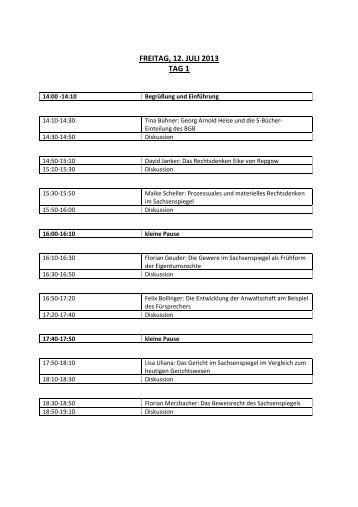 Ablaufplan Blockseminar