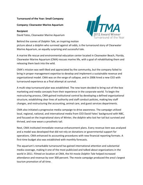 Clearwater Marine Aquarium - Turnaround Management Association