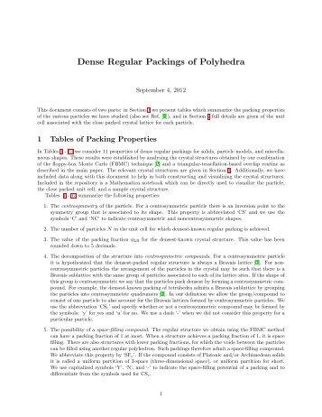 Dense Regular Packings of Polyhedra