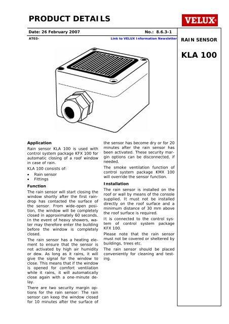 PRODUCT DETAILS KLA 100 - Velux