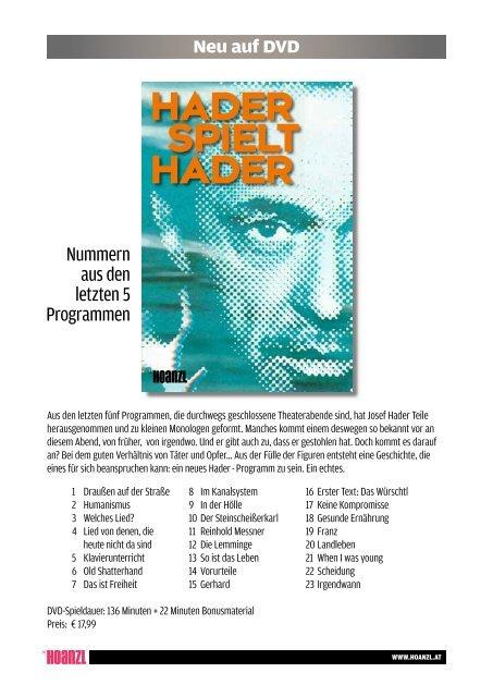 Pressemappe DVD pdf, 113.76 KB, hader-spielt ... - HOANZL Agentur