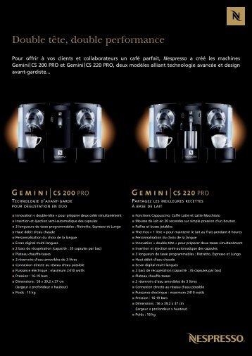 Download the GEMINI RANGE PDF - Nespresso