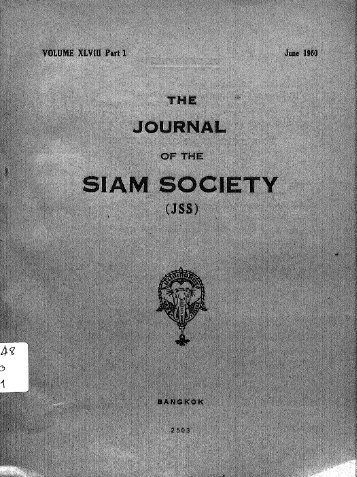 The Journal of the Siam Society Vol. XLVIII, Part 1-2, 1960 - Khamkoo