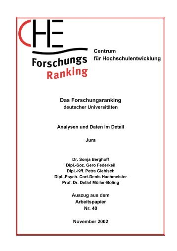 Centrum für Hochschulentwicklung Das ... - CHE Ranking