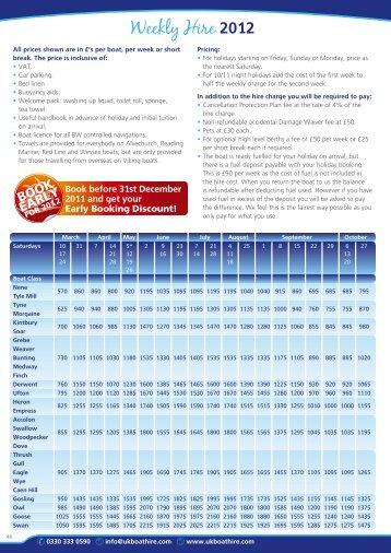 to download the 2012 Price List - UK Boat Hire