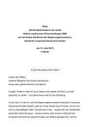 Dinner Speech der Bundesministerin der Justiz, Frau Sabine