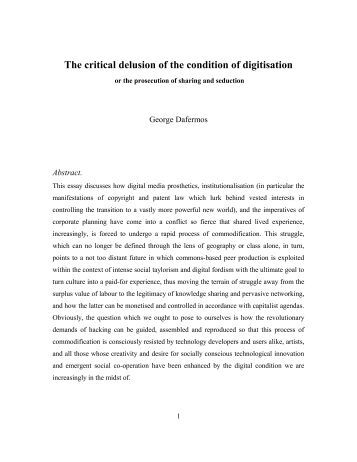 The critical delusion of the condition of digitisation - Hyper(+)drome