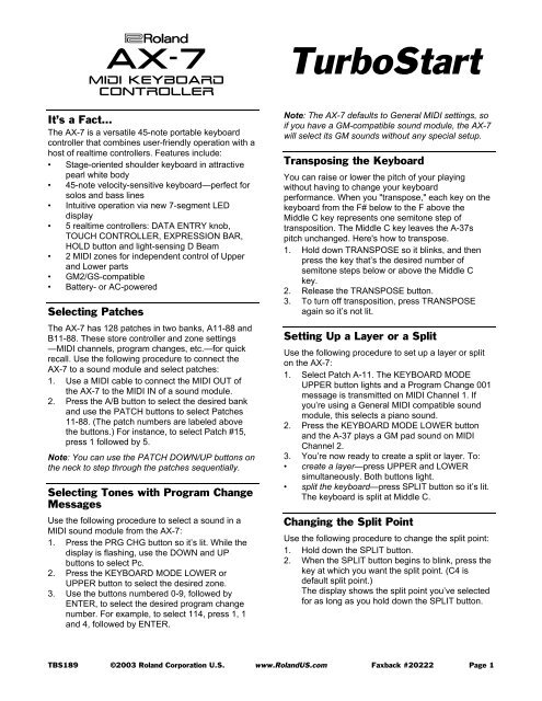 AX-7 TurboStart (PDF) - Roland Corporation Australia