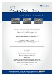 Festfolge Export-oriented Management Bachelor of Arts in Business ...