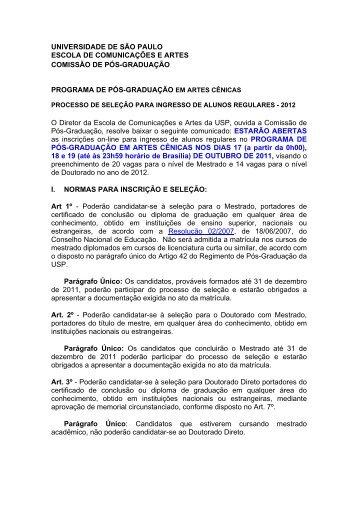 Processo Seletivo para Alunos Regulares 2012 - ECA-USP