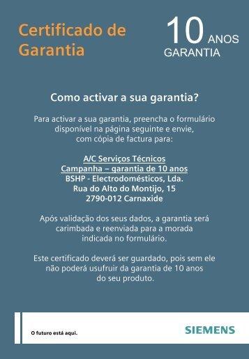 Certificado de Garantia - Siemens
