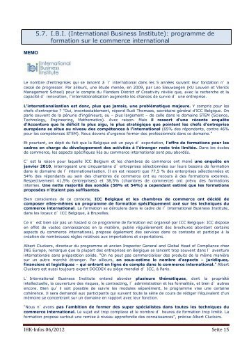 5.7. I.B.I. (International Business Institute): programme de formation ...