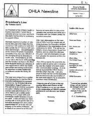 E2.17 NEWSLINE V17 1-4 2002 - Ontario Health Libraries Association