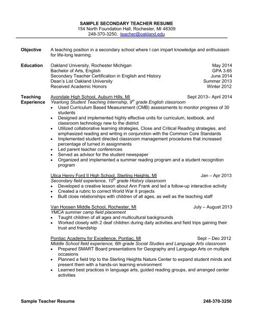 sample secondary teacher resume 154 north foundation