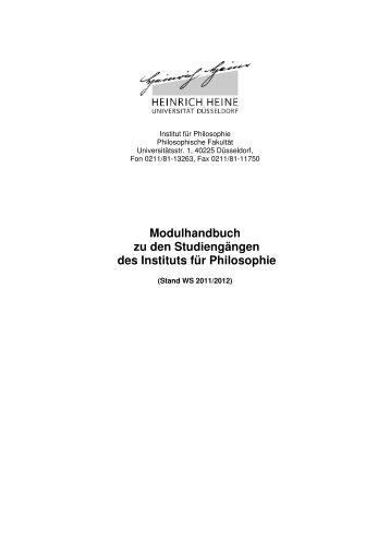 Modulhandbuch 2011 - Philosophische Fakultät