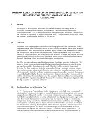 POSITION PAPER ON BOTULINUM TOXIN (BOTOX) INJECTION ...
