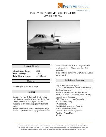 PRE-OWNED AIRCRAFT SPECIFICATION 2001 Falcon 50EX ...