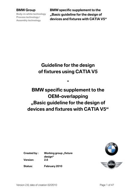 Basic guideline for the design of devices and fixtures with