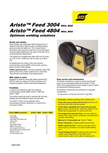 Aristo™ Feed 3004/4804, MA4/MA6 specifications - Alas-Kuul AS