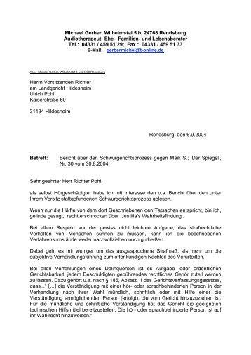 Offener Brief Michael Gerbers an den Richter - Taubenschlag