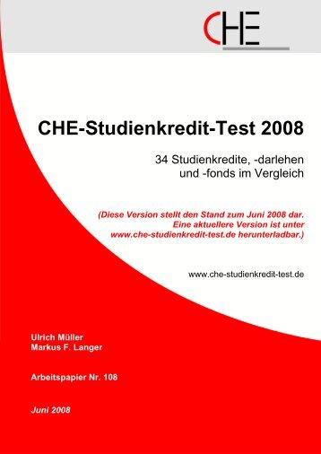 Che-Studienkredit-Test 2008 - Centrum für Hochschulentwicklung