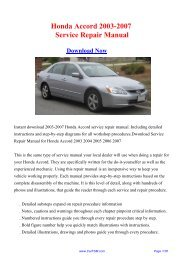 Download Honda Accord 2003-2007 Service Repair Manual - Carfsm