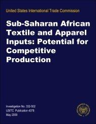 Sub-Saharan African Textile and Apparel Inputs: Potential ... - USITC