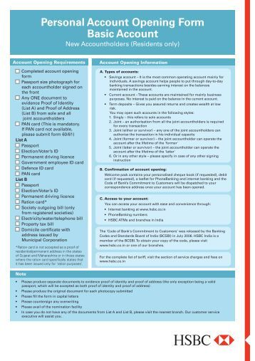 hsbc bank account opening form pdf